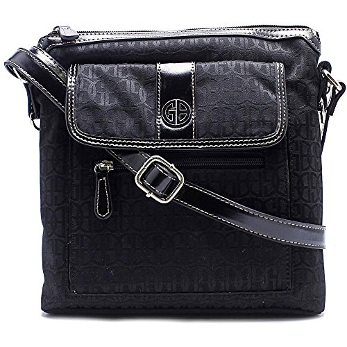 Giani Bernini Womens Signature Adjustable Crossbody Handbag Black Medium Bernini Womens Handbag