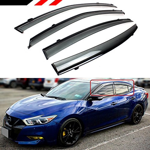 Cuztom Tuning Fits for 2016-2018 Nissan Maxima VIP JDM Clip-on Type Smoke Tinted Window Visor with Black Trim (Car Lashes For Nissan)