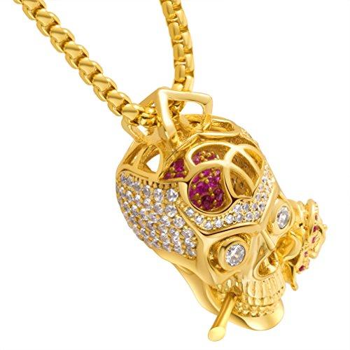 Karseer Faithful Love & Rose Skull Pendant Necklace with Crystal Brain Hidden Inside, Infinite Fantasy Gift for Men and Women (Gold) by Karseer (Image #7)