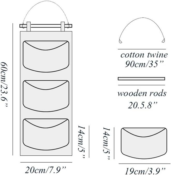 MF2FLAY T/ür Closet Organizer 2/Packungen Wand H/ängende Aufbewahrung mit 3/Taschen f/ür Schlafzimmer /& Bad