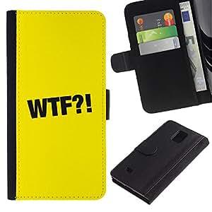 iBinBang / Flip Funda de Cuero Case Cover - WTF símbolo de la muestra Negro Signo Amarillo - Samsung Galaxy Note 4 SM-N910