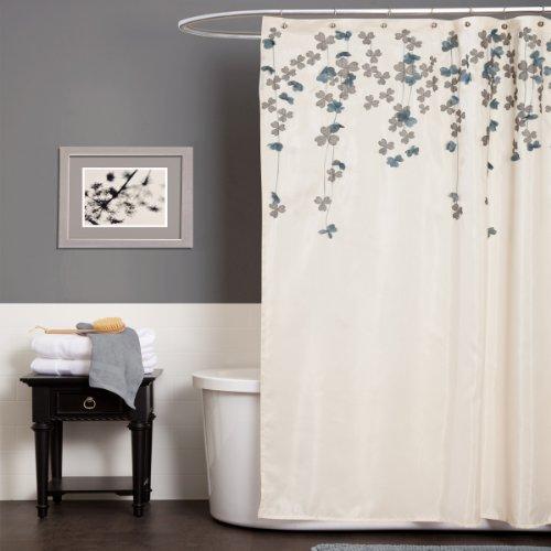 - Lush Decor A00516Q12 Drop Shower Curtain, Ivory/Blue