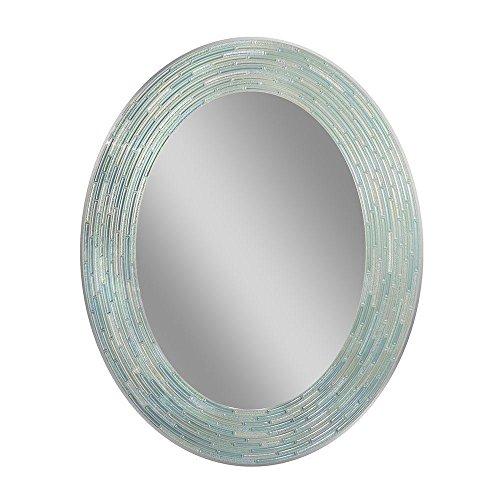 Deco Mirror 29 in. L x 23 in. W Reeded Sea Glass Oval Wall - Aqua Mirror