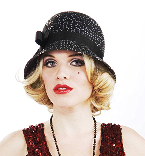 Speakeasy Theme Party Costumes (Forum Novelties Women's Flapper Costume Deluxe Sequin Hat, Black, One Size)