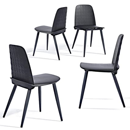 Superb Greenforest Dining Chairs Set Of 4 Mid Century Modern Kitchen Chairs Plastic Leisure Side Lounge Chairs Black Creativecarmelina Interior Chair Design Creativecarmelinacom
