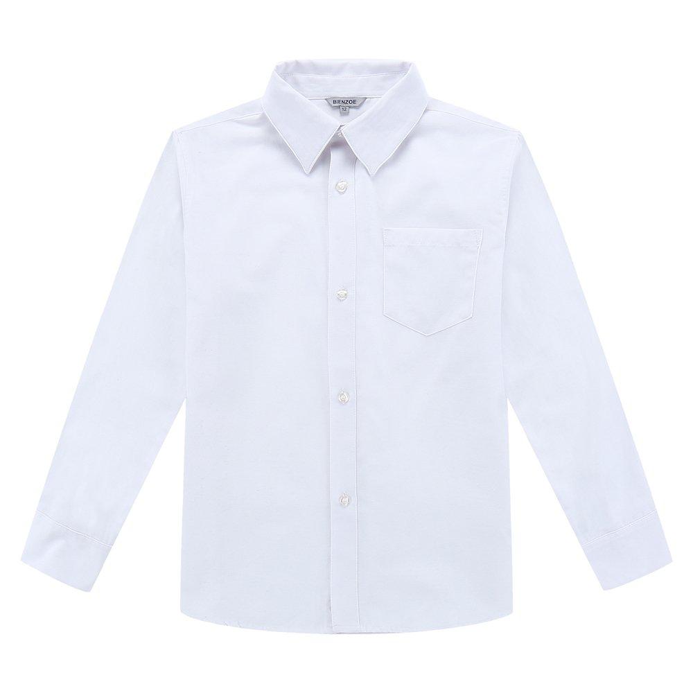 Bienzoe Boy's School Uniform Long Sleeve Button Down Oxford Shirt