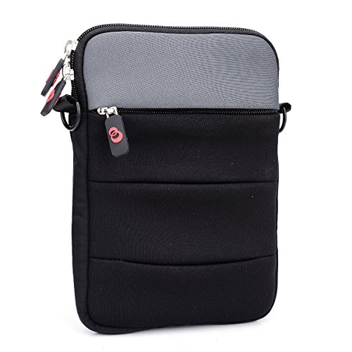 NuVur Messenger Bag Case & Shoulder Strap (w/front zipper pocket) for 6-Inch and 7-Inch Tablets and E-Readers | Black & Grey (Hdx 7 Accesories compare prices)