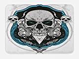 Lunarable Skull Bath Mat, Artistic Evil Dead Head Skeleton Leaf Details Gothic Mexican Work of Art Print, Plush Bathroom Decor Mat with Non Slip Backing, 29.5 W X 17.5 W Inches, Grey White Blue