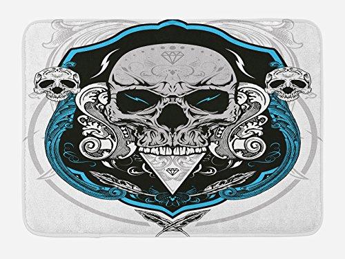 Lunarable Skull Bath Mat, Artistic Evil Dead Head Skeleton Leaf Details Gothic Mexican Work of Art Print, Plush Bathroom Decor Mat with Non Slip Backing, 29.5 W X 17.5 W Inches, Grey White Blue by Lunarable