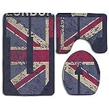 gel kitchen mats uk TingsCity Household London UK Flag Soft Flannel Non-Slip Bathroom Rug Mats Set 3 Pc Prevent Mold