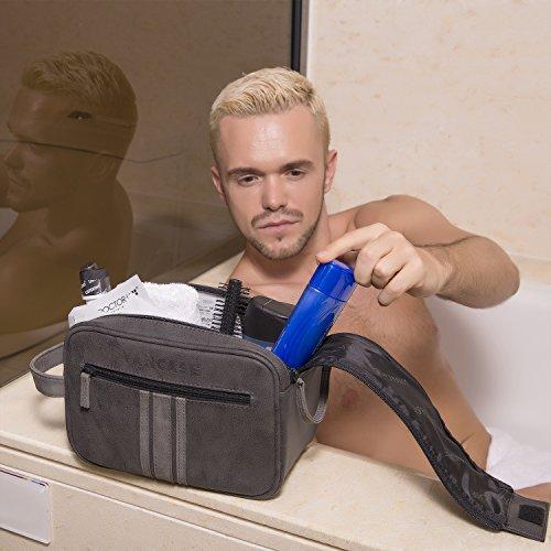 Travel Toiletry Bag for Men, Vancase Vintage Leather Dopp Kit, Large Waterproof Shaving bags, Portable Bathroom Organizer with Connected Zipper Puller (Dark Gray)