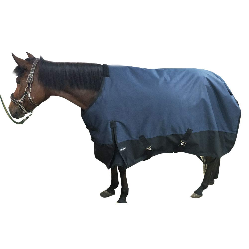 TGW RIDING 600 Denier Waterproof and Breathable Horse Sheet (76'', Navy Blue) Size from 68 to 82