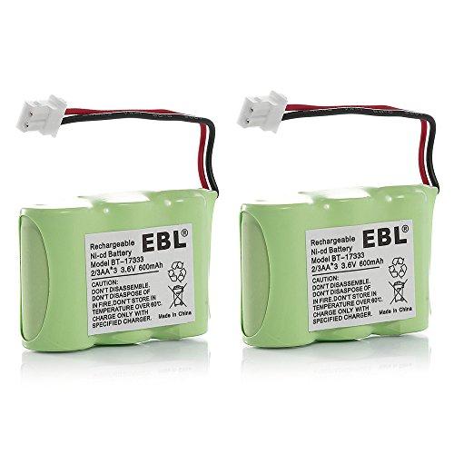 EBL 2 Pack Rechargeable Cordless Phone Batteries for Home Phone V-Tech 80-1338-00-00 89-1332-00-00 89-1338-00 BT-17333 BT-27333 BT-17233 BT-27233 BT-163345 BT-263345, Vtech 8013380000 8913320000 89133800 BT17333 BT27333 BT17233 BT27233 BT163345 BT263345 Cordless Telephone Battery Replacement Packs