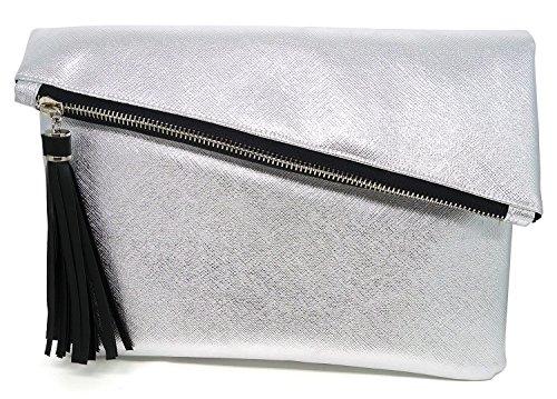 (Bijoux De Ja Glitter Leatherette Tassel Envelop Statement Purse Clutch Evening Handbag (Silver))