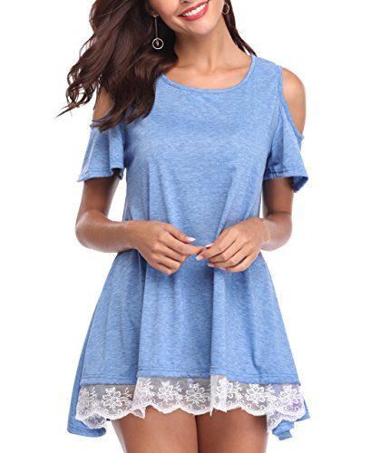 (LYHNMW Women's Sumer Tops Short Sleeve Lace Trim O-Neck A-Line Tunic Blouse Dress Light Blue)