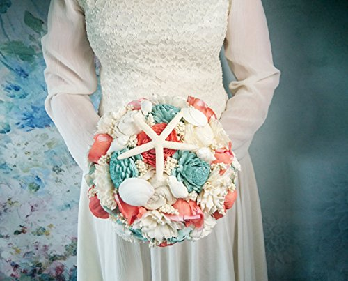 Coral Mint Ivory Bouquet with Sola Flowers Shell Starfish