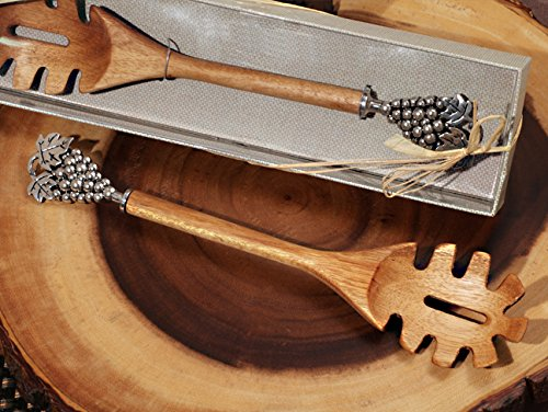 (FavorOnline Rustic Bamboo Pasta Server with Chrome Grapes Handle in a Box - 1 PC)