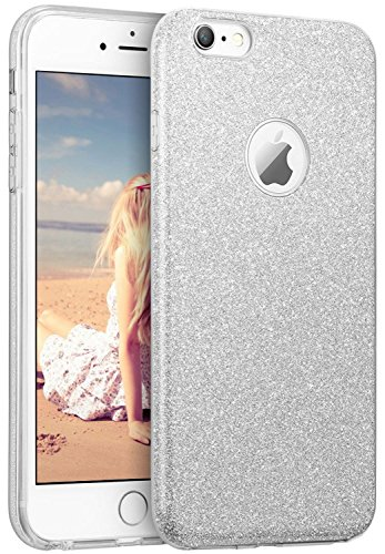 iPhone 6s Case, Imikoko™ Fashion Luxury Protective Hybrid Beauty Crystal Rhinestone Sparkle Glitter Hard Diamond Case Cover For iPhone 6s/6 (Silver-3 Layer) (Silver Phone Cover)