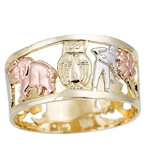 THE ICE EMPIRE JEWELRY, LLC 10mm 14K Gold Lucky Charm Elephant, Horse Shoe, Owl, Seven 7, Evil Eye, Four Clover Flower Ring Band 5-10 (6)