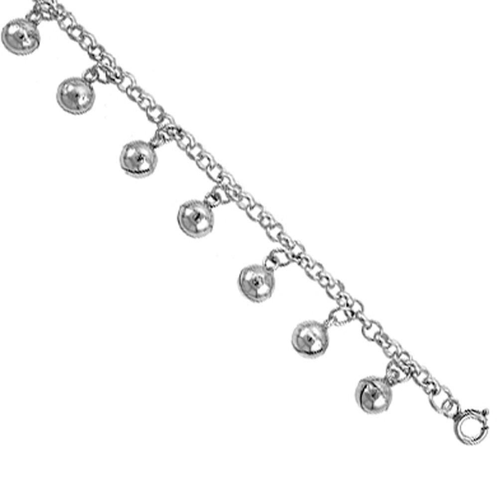 Sterling Silver Jingle Bells Charm Bracelet 12mm wide, fits 7-8 inch wrists