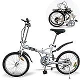 KROCK Bicicleta Plegable Acero R20 Retro 6 Velocidades Shimano Suspension Trasera Blanco