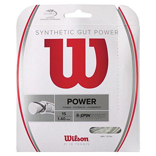 Wilson Synthetic Gut Power 40-Feet Tennis String Set, White, 17