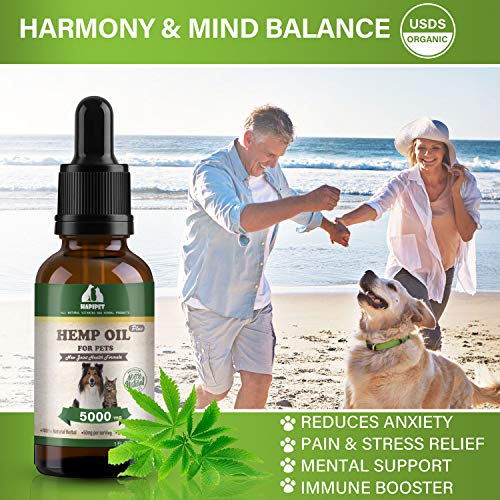 51EICWXj4QL - HAPIPET Hemp Oil for Dogs Cats Pets,100% Pet Hemp Oil, 5000MG for Hemp Oil Stress Sleep Aid, Supports Hip & Joint Health, Grown & Made in USA-Omega 3, 6 & 9