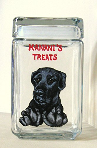 Black Labrador Retriever Pet Treat Jar for Dog Biscuits and Snacks, Canister with Personalized Pet Portrait, Painted Glass Storage Jar ()