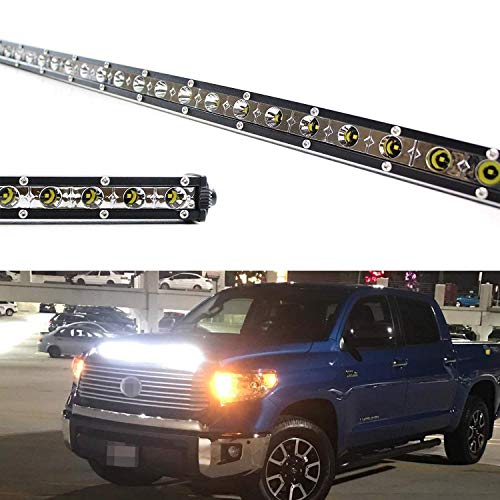 iJDMTOY Hood Scoop Mount 36-Inch LED Ultra Slim Light Bar Kit For 2014-up Toyota Tundra, Includes (1) 108W High Power LED Lightbar, Hood Bulge Mounting Brackets & On/Off Switch Wiring Kit ()