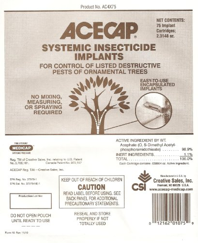 Acecap 75-Pack Systemic Insecticide Tree Implants for Control of Tree Pests, 3/8-Inch ()