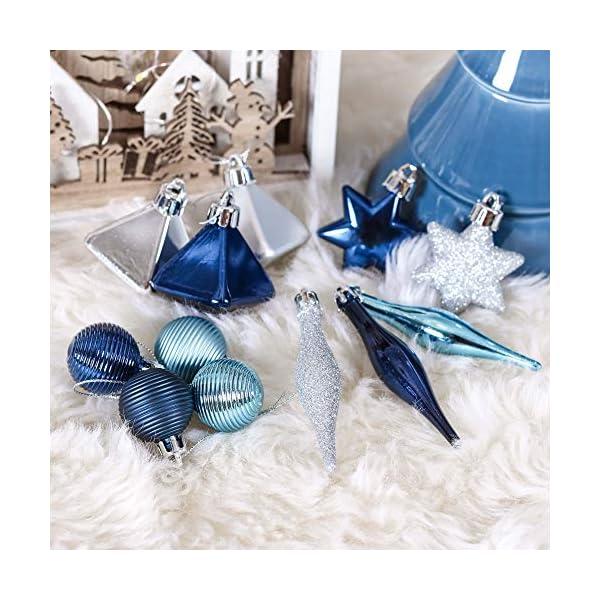 Valery Madelyn Palle di Natale 45 Pezzi di Palline di Natale, 3-4 cm Auguri Invernali Argento e Blu Infrangibili Ornamenti Palla di Natale Decorazione per la Decorazione Dell'Albero di Natale 6 spesavip