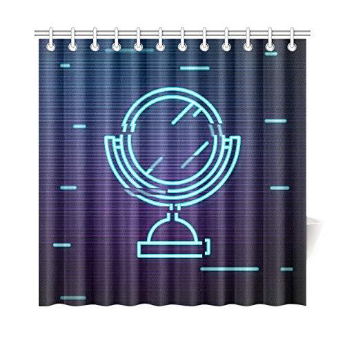 VNASKL Home Decor Pattern Fabric Shower Curtain Glitch Screen Mirror Icon Make -