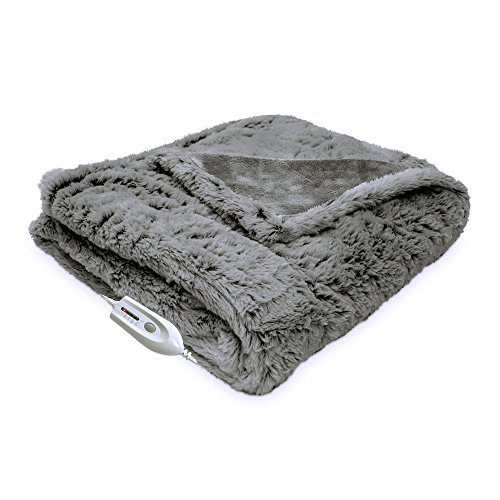 Serta Faux Fur Reversible Electric Heated Throw Blanket