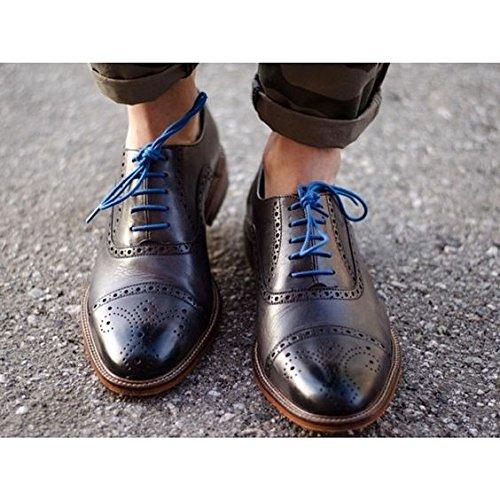 Shoeslulu 20-59 Premium Lacci Tondi In Tela Cerata Con Laccetti Blu Francese