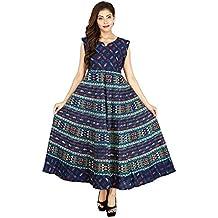 Silver Org. Women's Cotton Printed Anarkali Party Wear Dress
