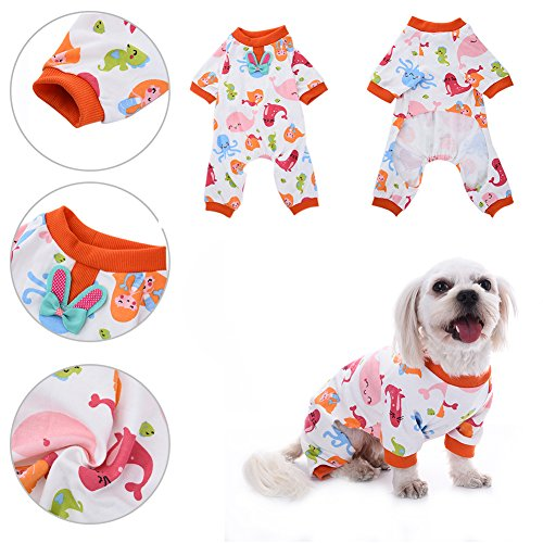 Pattern Dog Mermaid Costume (Pet Dog Mermaid Pattern Cotton Pajamas Leisure&Durable Pet Jumpsuit Pet Sleep Clothes Cozy Puppy Doggy Home Wear by Awtang)