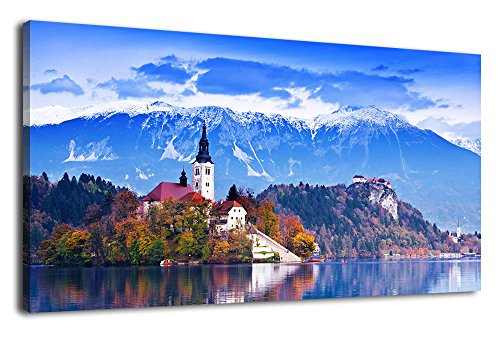 Blue Canvas Art Wall Decor Lake Mountain Nature Pictures Long Canvas Artwork St. Mary Church Bled Island Painting Contemporary Wall Art for Living Room Bedroom Bathroom Kitchen Office Home Decoration