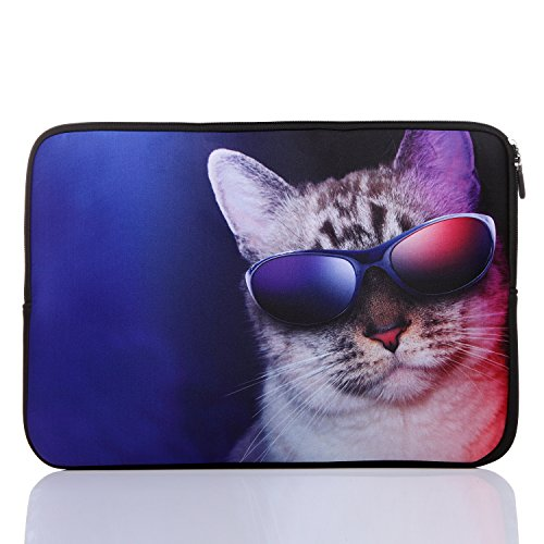 11.6-Inch to 12.5-Inch Neoprene Laptop Sleeve Case for 11 11.6 12 12.2 12.5 Inch MacBook air/Ultrabook/Chromebook/Tablet/Notebook (11.6-12.5 Inch, Blue Cat)