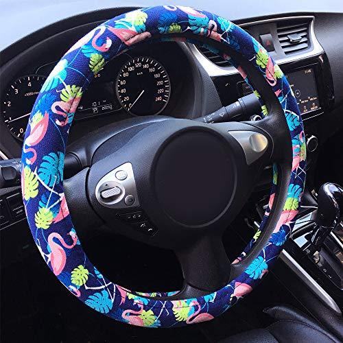 Rayauto Automotive Ethnic Tropical Hawaiian Flamingo Style Car Steering Wheel Cover 15