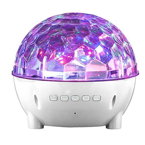 Mini Colorful Stage Lights Wireless Speaker for HTC U11, U11+, U11 Life, U Ultra, U Play, 10, Bolt, 10 Evo, One, One Max, One M8 M9 (White)