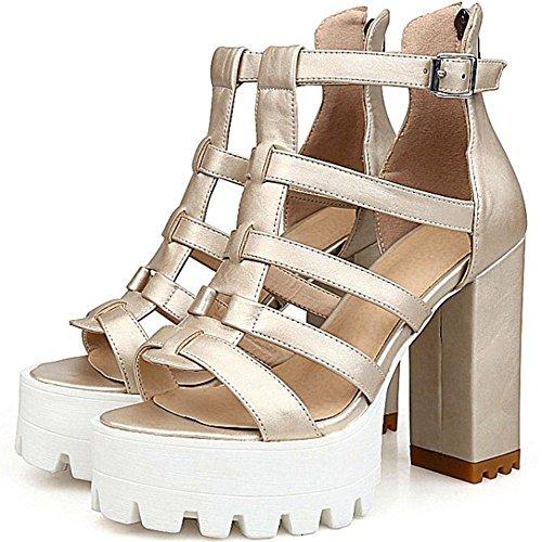 Gold Women Summer Toe TAOFFEN 9 Sandals Peep Platform nYqPRxdFw