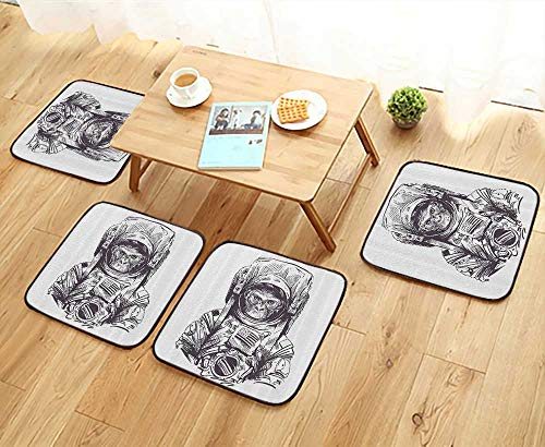 Printsonne Home Chair Set Mkey Vintage American Spacesuit Wild Gorilla Invasi of Ethereal Home Machine-Washable W21.5 x L21.5/4PCS Set -