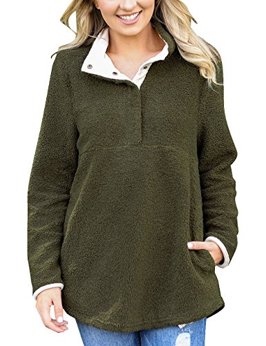 Fleece Button (GRAPENT Women's Casual Long Sleeves Stand Collar Buttons Pockets Fleece Pullover Army Green Size M ( Fit US 8 - US 10 ))