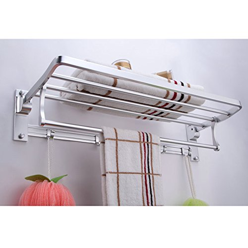 KES A4015 Bathroom Aluminum Foldable Towel Rack Shelf with Coat and Robe Hooks Wall Mount, Aluminum (White Shelf Rack With Towel)