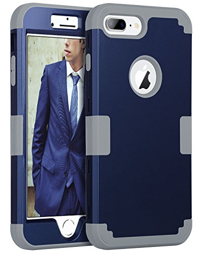 iPhone 8 Plus Case, iPhone 7 Plus Case, BENTOBEN Heavy Duty Shockproof 3 in 1 Slim Hybrid Hard PC Cover Soft Silicone Rubber Rugged Bumper Protective Phone Case for iPhone 8 Plus/7 Plus Navy Blue/Gray Blue Hard Rubber Case