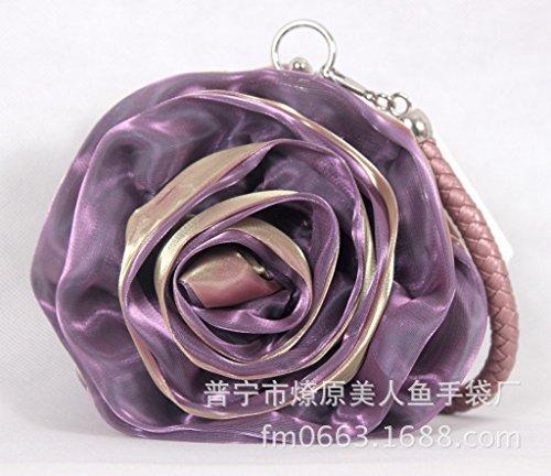 dress bag silk red stereo with purple flowers bag Big red Pea jujube flower Female hand bag bride xqEwXPpU