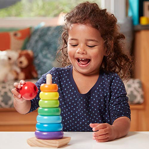 Melissa & Doug Rainbow Stacker Classic Toy (Developmental Toys, Superior Craftsmanship, 8 Smooth Rings, Solid Wood Base)