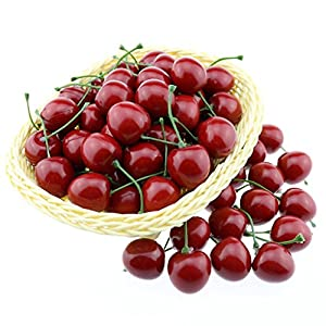Gresorth 50pcs Artificial Lifelike Red Cherry Decoration Fake Chrries Fruit Food Home Party Christmas Display 93