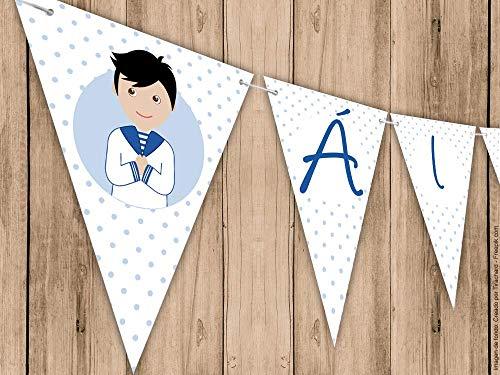 Guirnalda Mi Primera Comunion nino con traje marinero. Guirnalda decorativa. Banderines para fiestas.