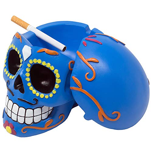 Decorative Sugar Skull Ashtray with Cover or Candy Dish for Dia de Los Muertos Festival and Halloween Party Decorations or Spooky Gothic Smoking Room Décor As Unique Novelty Gifts for Smokers -